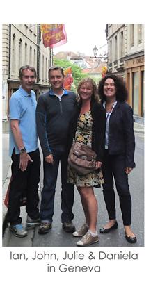 Ian, John, Julie & Daniela in Geneva