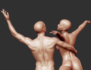Dancing couple back