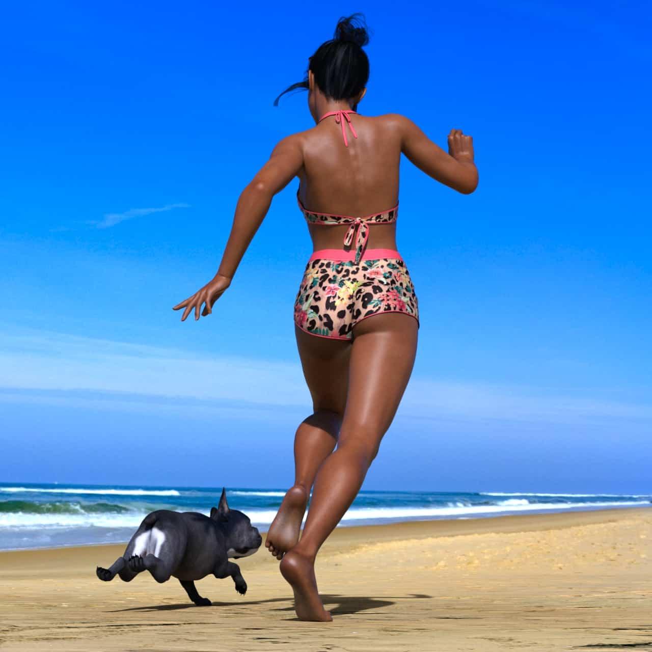 RR beach and bulldog 4 - 3D Artwork