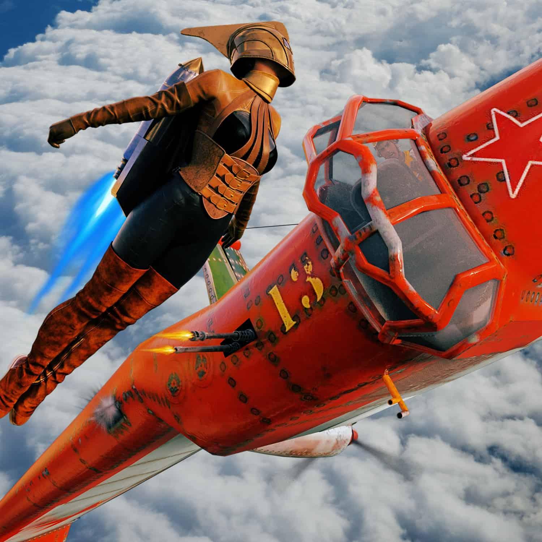 RR flying wing in sky 2 flames - 3D Artwork