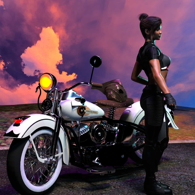 RRDesert sunset with white Harley 4 - 3D Artwork